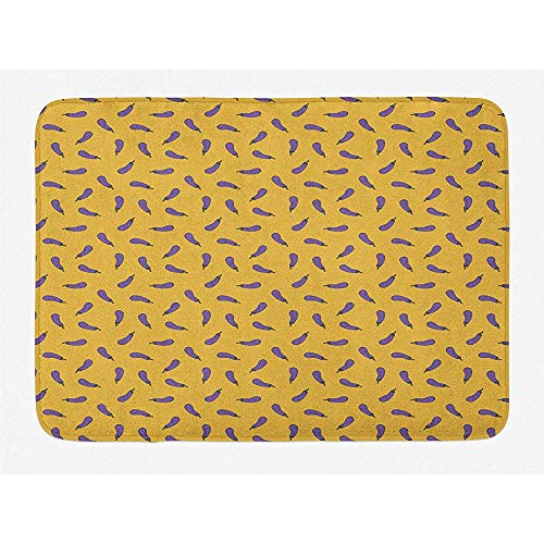 Anna-Shop badmat voor aubergines, herhalende illustratie van gezonde voeding, pluche badkamerdecoratiemat met anti-slip rug, 29,5 x 17,5 inch