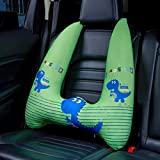 Kids Car Pillow with Head and Neck Support | Adjustable with Seatbelt | Soft and Snug Car Headrest Pillow | Best for Children When Traveling - Playful Green