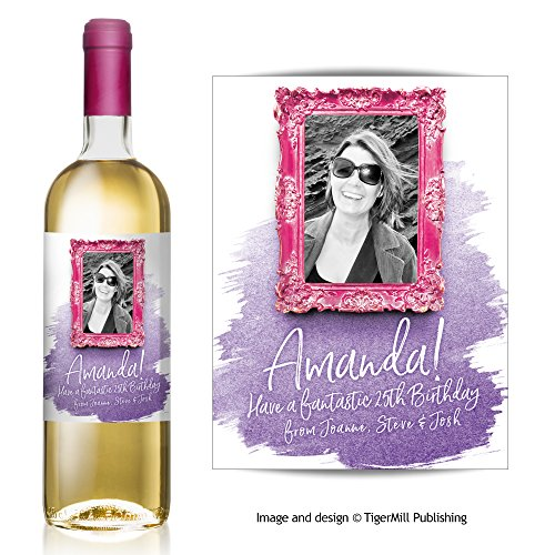 Personalised Baroque Photo Wine Bottle Label – Birthday, Wedding, Engagement, Anniversary, Hen Night Gift (Pink/Purple)