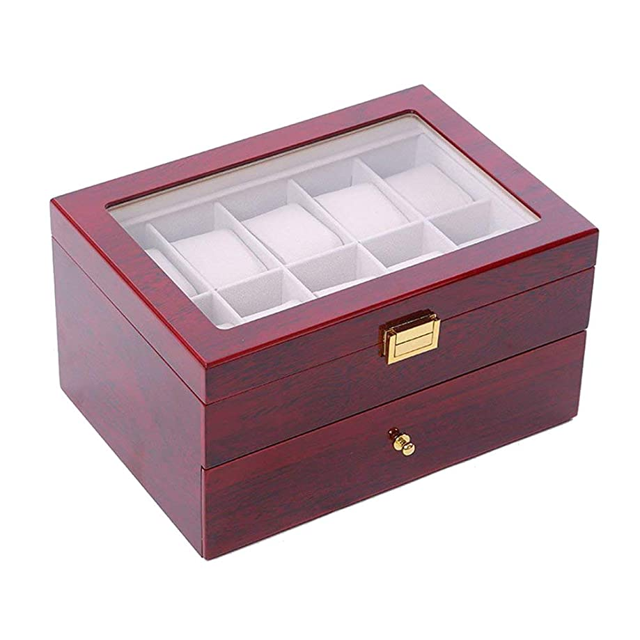 Joy mall Watch Box Watches Case for Men Organizer Display Watches Relojes Storage Collection Women Wooden Holder Caja 20 Slot Red