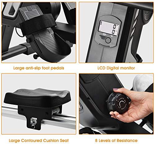 Merax magnetisches Rudergerät mit 8 einstellbaren Stufen, LCD-Monitor, 150 kg Maximalgewicht, Cardio-Fitnessgerät für den Heimgebrauch, faltbar - 8