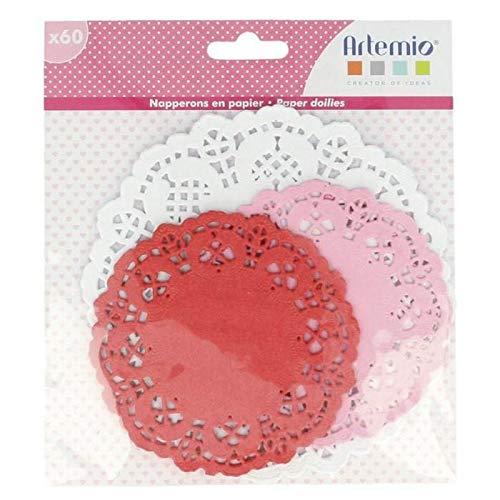 60 napperons ronds papier rose-rouge-blanc Ø 10-14 cm