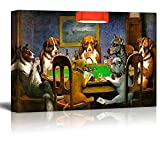 wall26 Pokers Dogs (or Dogs Playing Cards) by C. M. Coolidge - Canvas Print Wall Art Famous Painting Reproduction - 24' x 36'