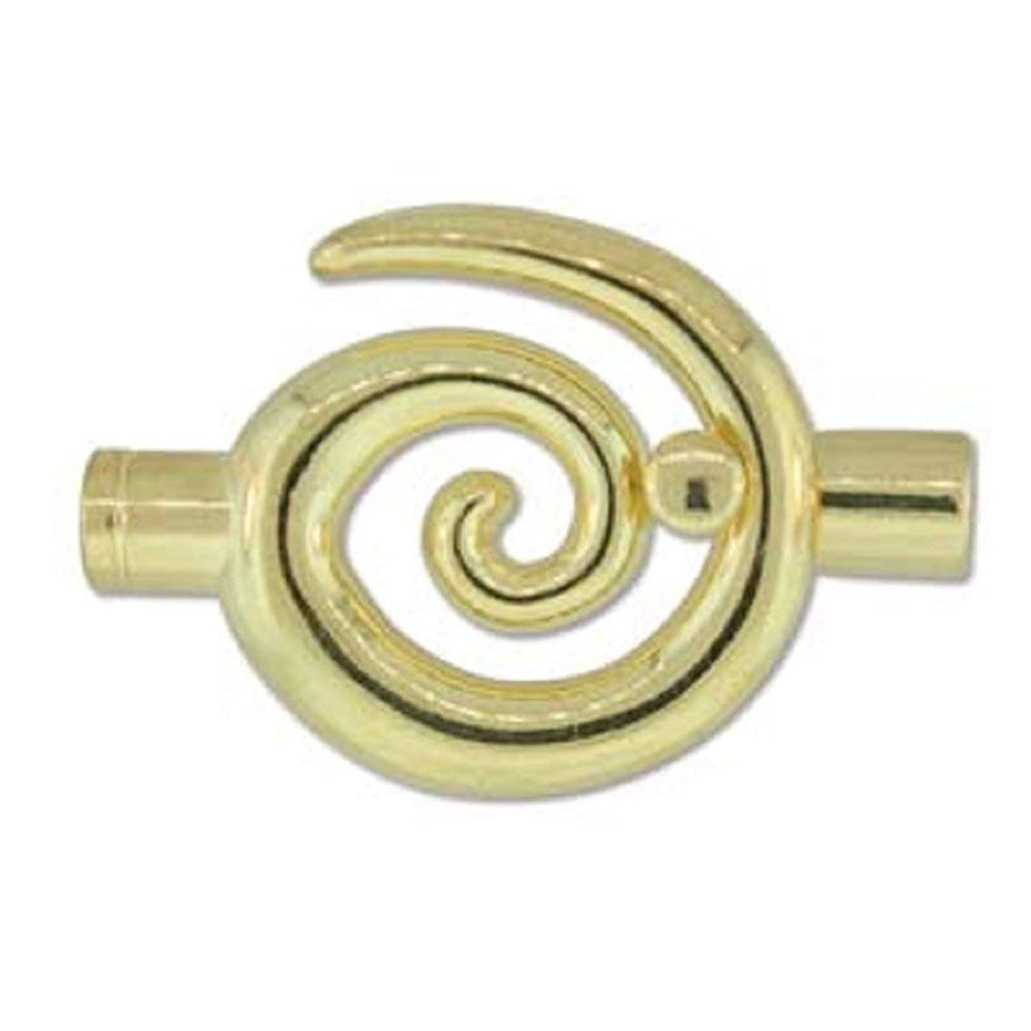 BeadSmith Large Glue In Swirl Toggle Clasps - Gold Plate - Perfect Clasp for Kumihimo - 6.2mm Diameter - 2 Clasps
