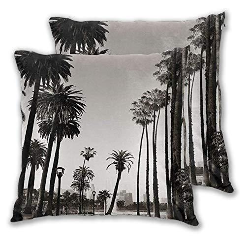 ELIENONO 2 Stück Deko-Kissenbezug 60x60cm,Los Angles Downtown Park Blick auf die Tropische Natur California American Landmark quadratisch Kissenbezüge für Sofa Bett Wohnzimmer Schlafzimmer