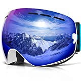 COPOZZ Ski Goggles, G1 OTG Snowboard Snow Goggles for Men Women Youth, Interchangeable Double Layer Anti Fog UV Protection Lens, Polarized Goggles Available (G1-White Frame Blue Lens(VLT 18.4%))