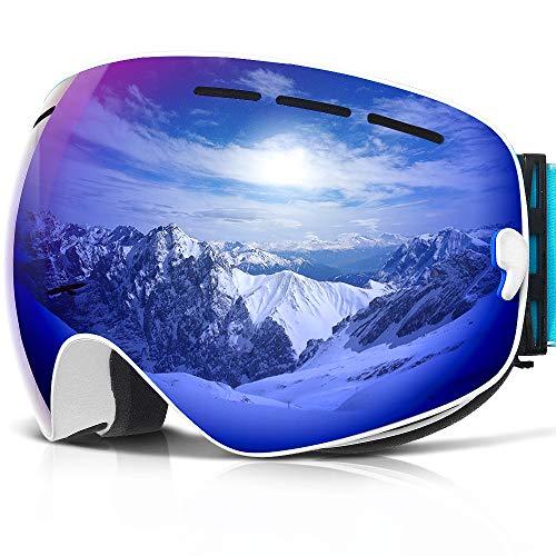 Copozz G1–Gafas de esquí para Nieve Snowboard Skate para Moto Nieve–para Hombres Mujeres Jóvenes Boy Girl–Anti Niebla UV Protección OTG más Gafas Casco Compatible Desmontable Doble Lente