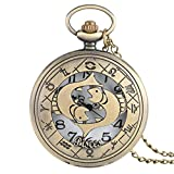 ZMKW Bronce 12 Constelaciones Serie temática Reloj de Bolsillo de Cuarzo Reloj del Zodiaco Moderno Cadena Regalo de cumpleaños de Navidad, Piscis