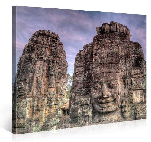 Gallery of Innovative Art – Towers of Bayon – 100x75cm – Larga Stampa su Tela per Decorazione murale – Immagine su Tela su Telaio in Legno – Stampa su Tela Giclée – Arazzo Decorazione murale