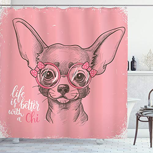 ABAKUHAUS H& Duschvorhang, Mädchen Chihuahua Sketch Wörter, Wasser Blickdicht inkl.12 Ringe Langhaltig Bakterie & Schimmel Resistent, 175 x 220 cm, Armeegrün Hellrosa
