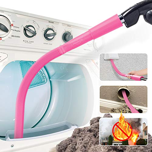 Holikme Dryer Lint Vac Attachment, Dryer Vent Cleaner Kit, Vacuum Hose Attachment Brush, Lint Remover, Pink