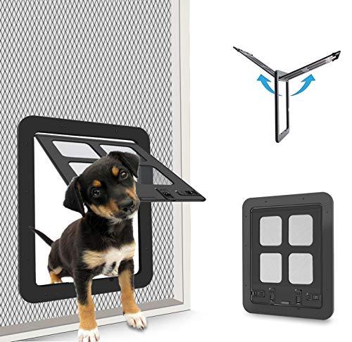 CEESC Puerta de mosquitera para Mascotas para Gatos y Perritos, Puerta corredera con Cerradura de 4 vías para Puertas Exteriores, Solapa de Gato Grande para Mascotas con Circunferencia