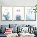 Sin marco Planta creativa cactus Efecto de desenfoque Citas inspiradoras carteles Guardería Habitación para niños Dormitorio Decoración para el hogar Arte de la pared Pintura en lienzo 50 * 70cm D