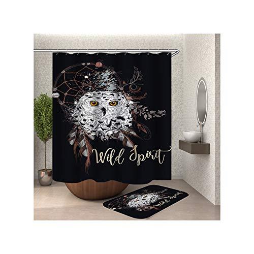 Anwaz Duschvorhang & Badezimmerteppich Set Waschbar aus Polyester Eule Muster Design Bad Vorhang Badvorleger Bunt mit 12 Duschvorhangringen für Badewanne - 180x200CM/ 40x60CM