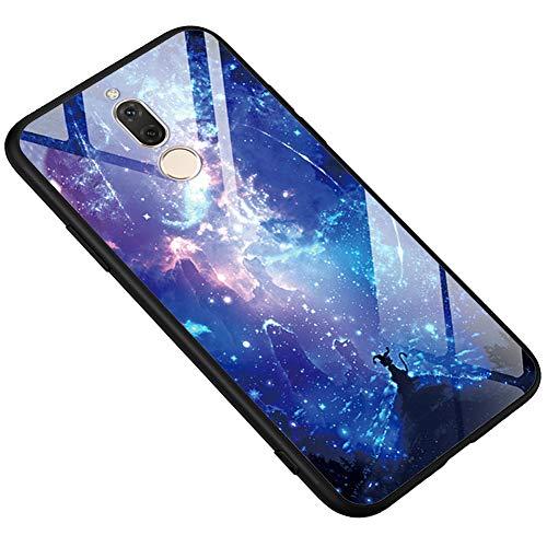[Leuchtend Luminous] Kompatibel mit Huawei Mate 10 Lite/Maimang 6 Hülle, Ysimee Bunte Gemalt Handyhülle 9H glattes Glas Rückseite & TPU Bumper Kratzfeste Stoßfeste Schutzhülle, Glitter Sterne