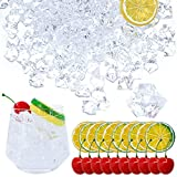 220 Pack Fake Ice Cubes Lemon Slice Cherries Set - Irregular Artificial Acrylic Ice Rocks - Clear Ice Crystals Crushed Ice Lifelike Photography Prop Vase Fillers for Home Decors Wedding Centerpiece