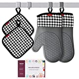 Silicone Oven Mitts and Pot Holders Sets with Quilted Liner, Ankway Heat Resistant Kitchen Mitts with Waterproof, Flexible Oven Gloves for Kitchen Cooking Baking Grilling, Dishwasher Safe, Gift Pack
