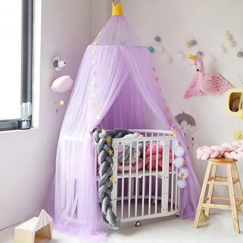 Nibesser Baldachin für Kinder/Babys 100% Polyester Gewebe Romantischer Betthimmel Moskitonetz Kinderbett für Kinderzimmer Hohe 240cm (Lila)
