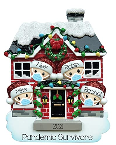 2021 Personalized Ornament House of Family Christmas Tree Ornament Handwritten Customized Decoration Family Ornament - Free Personalization (Family of 4)