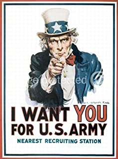 American Gift Services Uncle Sam says I Want You World War Two War Bond Poster 24x36 inches