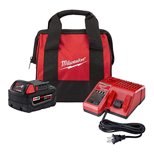 Milwaukee M18 18-Volt Lithium-Ion 5.0 Ah Battery and Charger Starter Kit with Tool Bag