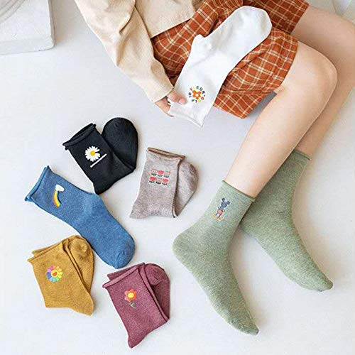 MIWNXM 10 Pares Autumn Winter Women Socks Cute Casual Fashion Comfortable Japanese Cotton Socks Daisy Rainbow...