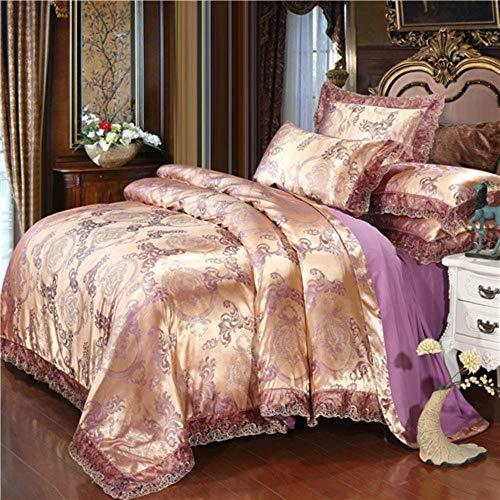 BEST PRODUCT Home Textile Silver Bedding Set Jacquard Lace Duvet Cover Set 4pcs Bed Linen European Bed Cover Luxury Golden Flat Sheet Scallop Massage Table Sheets Sets,manzhusha Purple,220 by 240