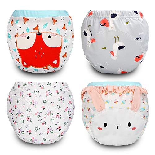 FLYISH DIRECT Baby Trainingshose Kinder Windelhose Kleinkind Training Unterwäsche Baumwolle wiederverwendbar und waschbar bequem 4er Pack, 4T