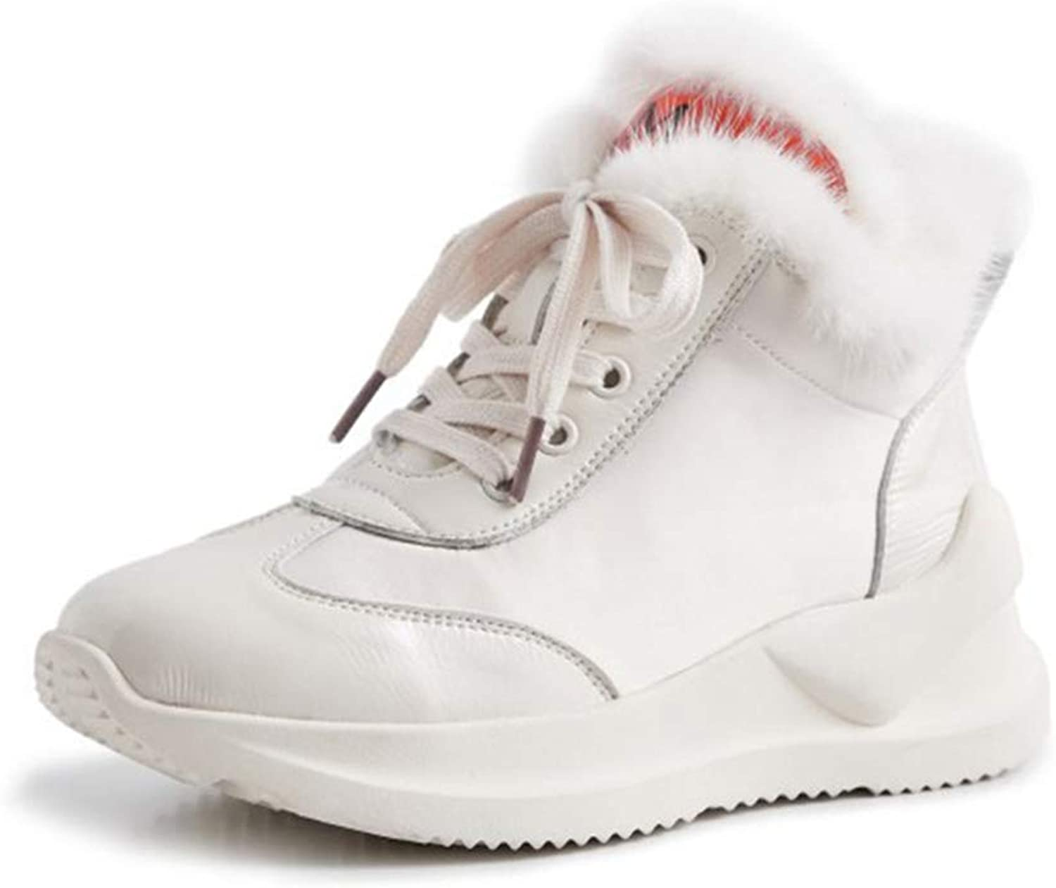 Womens Ankle Boots Winter Warm Ladies Snow Boot Anti Slip Casual shoes Flat Heel Short Boots Trainers shoes Outdoor Walking shoes (color   White, Size   35)