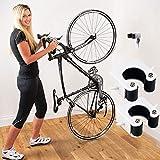 Clip de bicicleta con correa fija, montaje en pared bicicleta interior almacenamiento estacionamiento hebilla (para bicicleta de montaña, negro 2 piezas)