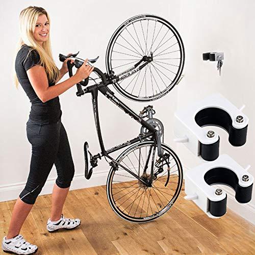 Fahrrad-Clip mit festem Gurt, Wandhalterung, Fahrrad-Innenraum, Park-Schnalle (für Mountainbike, schwarz, 2 Stück)