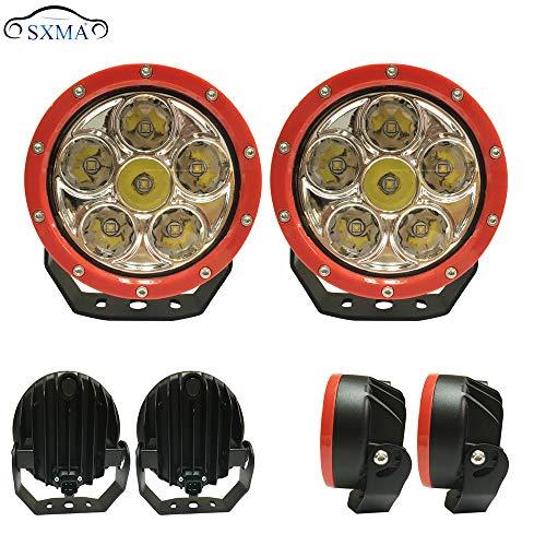 SXMA 2PCS 5 inch 60W LED Work Driving Light lichtstraal LED-lamp met hoge helderheid voor Wrangler JK F150 F250 SUV Pickup Truck Off-Road koplamp Roof Red