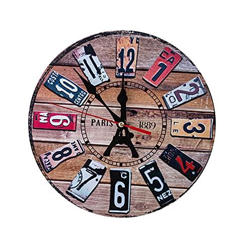 Reloj de Pared Redondo de Lujo Ligero Silencioso Relojes De Pared Dormitorio Sala De Estar Breve Moderno Reloj De Pared