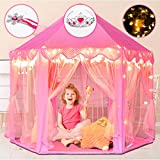 Happyhour Princess Castle Play Tent for Girls with Star Lights + Princess Tiara + Fairy Wand, Kids Tent for Children Toys for 3+ Year Old Girls, Kids Playhouse for Indoor and Outdoor Games (Pink)