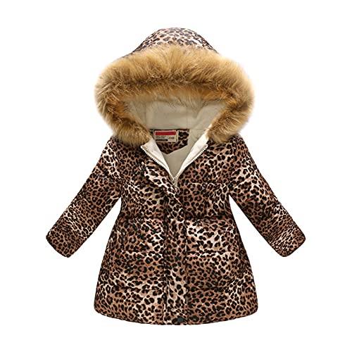 heavKin-clothes 3-8T Children Kids Baby Girls Padded Coat Leopard Hooded Jacket Winter Warm Windproof Outerwear (Coffee, 3-4 Years)