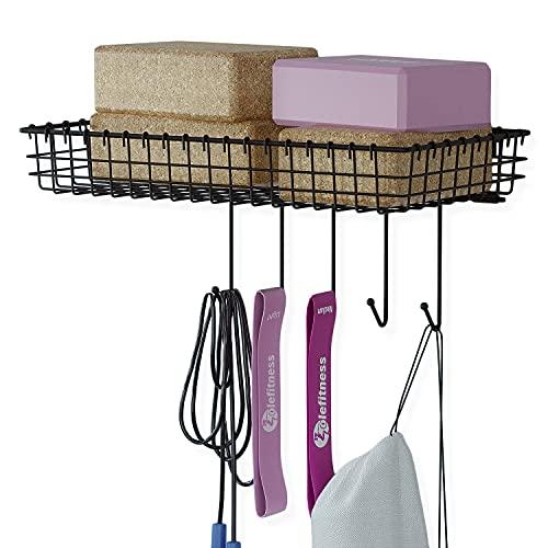 Wall35 Siena Wall Mount Yoga Block and Yoga Mat Bag Holder, Hanging Wire Basket for Exercise Bands, Baseball Holder, Black