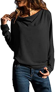 Womens Tops Long Sleeve T Shirt Cowl Neck Casual Slim Tunic Tops for Women