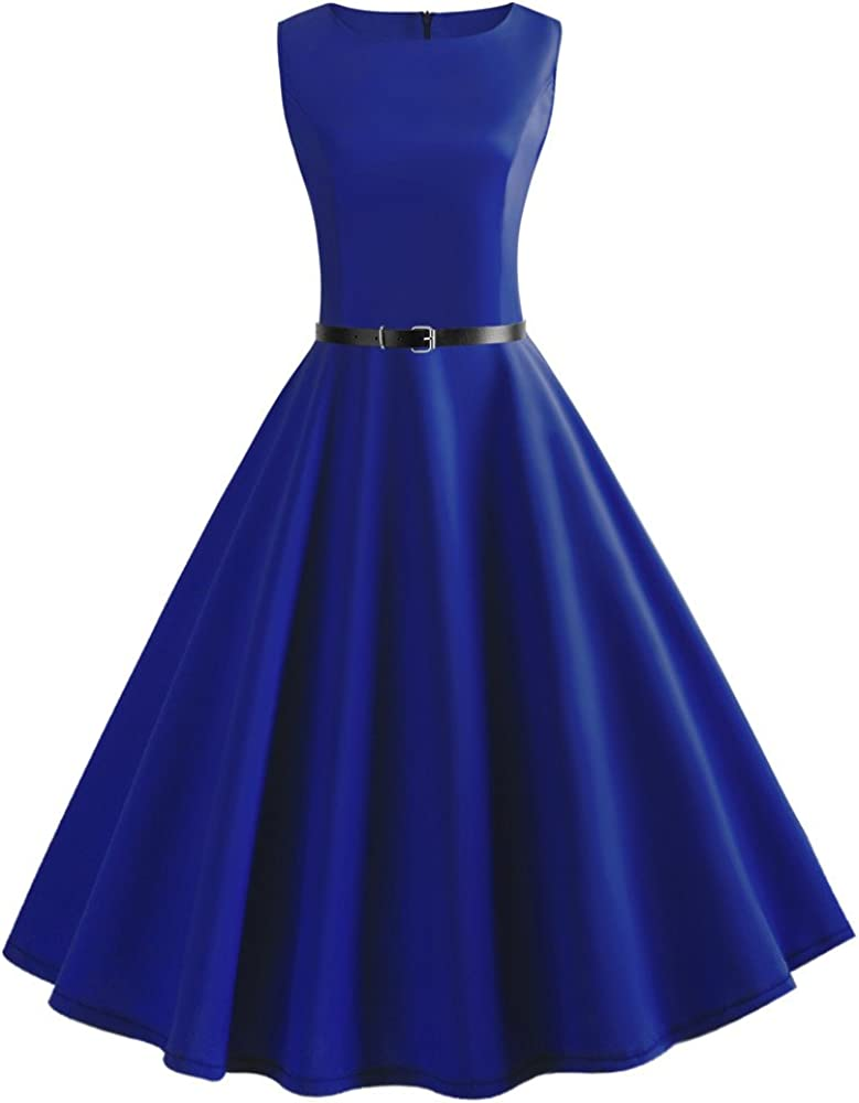 KYLEON Women's Seasonal Wrap Introduction Dresses 1950s Vintage El Paso Mall Gown Cockt Sleeveless Solid
