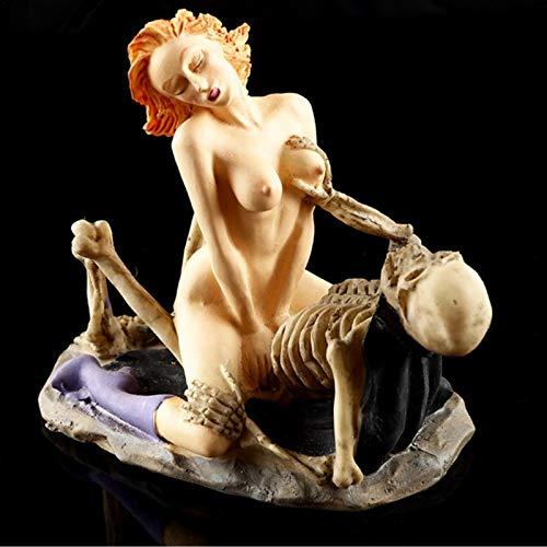 Runsmooth Cráneo Fantasma y Belleza Estatua figuritas Creativas de Resina Artesanal - 2 posturas para Hacer el Amor, Regalo Divertido para el hogar, Bar, Fiesta, Escritorio, Adorno Decorativo