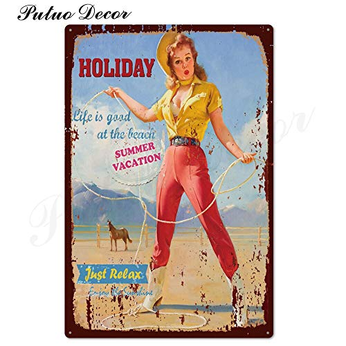 Sexy Girl Vintage Metal Sign Plaque Metal Vintage Metal Poster Pin Up Girl Tin Sign Wall Decor Bar Pub Club Man Cave Retro Signs 20x30cm TH2320