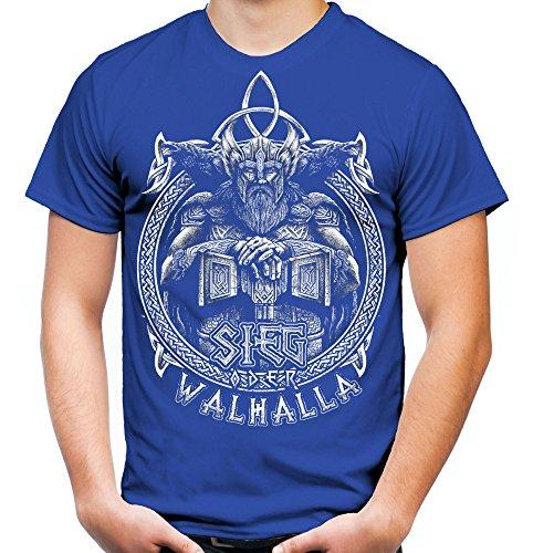 Sieg oder Walhalla Männer und Herren T-Shirt | Odin Wikinger Valhalla Geschenk | M1 Front (XXL, Blau)