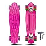 VERNBRIN Skateboards Mini Cruiser Retro Skateboard, monopatín completo de plástico de 22 pulgadas...
