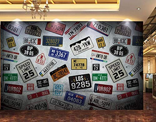 FVeng LIN Carpet Wall Decals Wall Paper In A Hurry Iu Retro Car License Plate Tooling Wall Mural Used For Gym Yoga Room Clothing Store Poster Picture-200cmx140cm