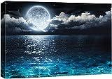 NWT Canvas Wall Art Blue Ocean Under Moonlight Calmful Heart Painting...