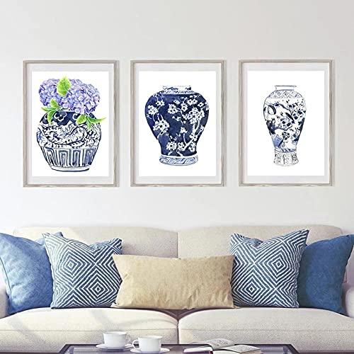 zuomo Pintura de Acuarela Azul, Impresiones artísticas, jarrón Oriental, tarros de...