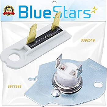 3977393 & 3392519 Dryer Thermal Fuse Kit Replacement by Blue Stars - Exact Fit for Whirlpool Kenmore Maytag Dryers - Replaces 3399848 AP3094244 WP3392519 80005 PS11741460