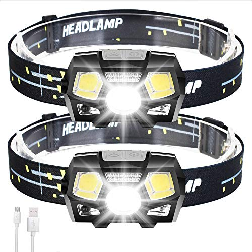 2 Packs Rechargeable Headlamp LED Flashlight, 800 Lumens Head Lamp Headlight with Red Light Motion Sensor for Adults Kids, 5 Lighting Modes Waterproof for Running Hiking Camping Fishing