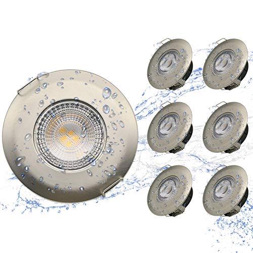 Kimjo LED Badeinbaustrahler IP44 Ultra Flach 6 x 5W LED Modul Einbaustrahler Warmweiss 3000K 500lm Bad Deckenspot 30mmEinbauleuchte Bad Einbauspot