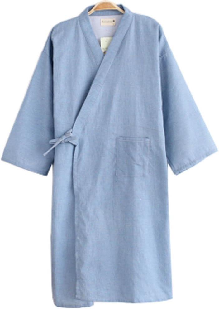 WuKong Direct Men Soft Kimono Robe Cotton Bathrobe Sleepwear, Asian Size L (Light Blue)
