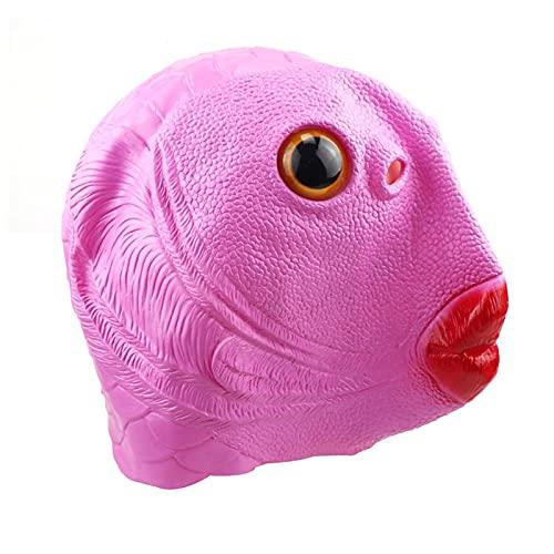 Kostüm Kopfbedeckung Fisch Maske,Green Mouth Fish Latexmaske, Latex Breathable Mermaid Fish Face Cover, Geeignet Für Halloween, Kostümparty, Karneval, Weihnachten